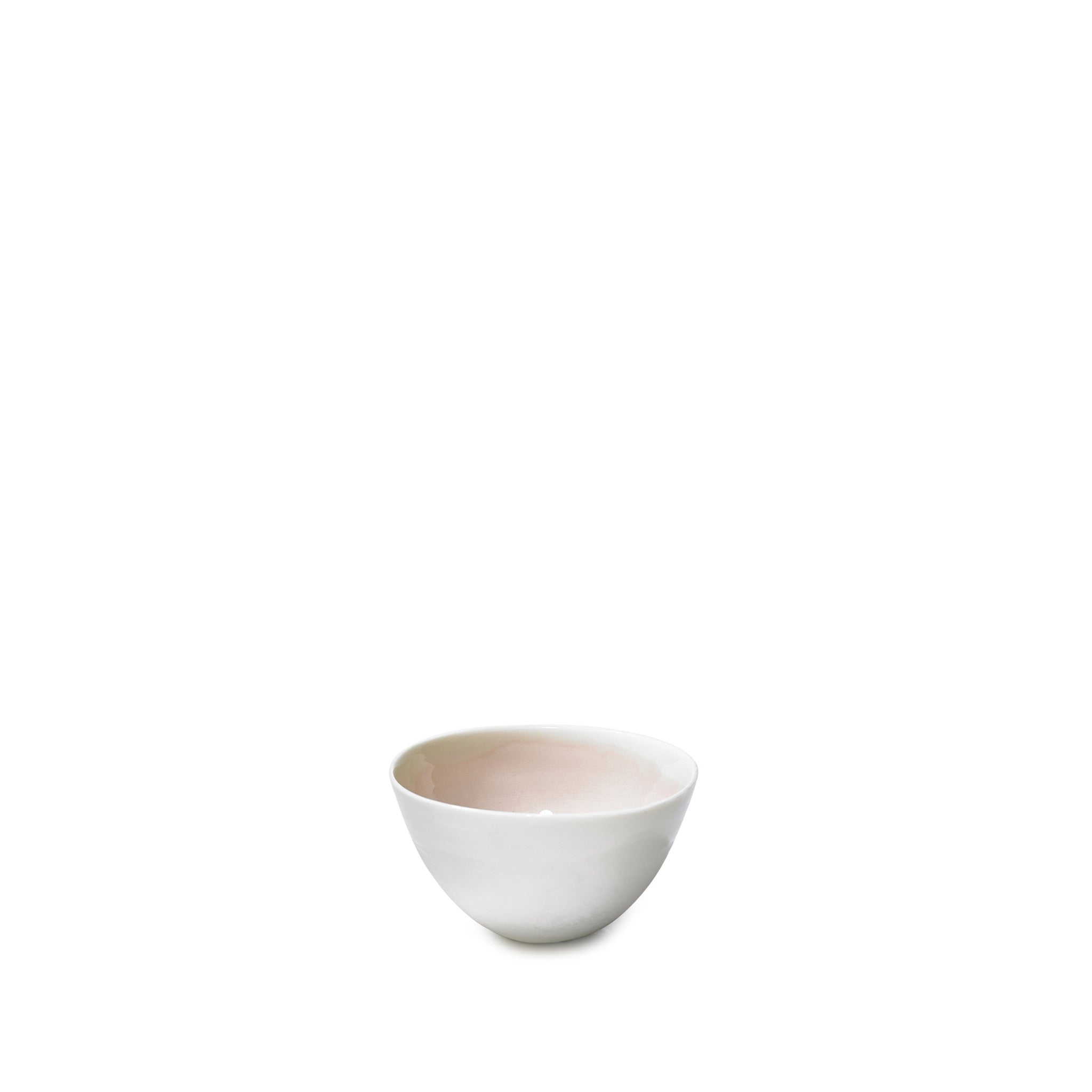Small Soft Pink Porcelain Bowl with White Edge, 8cm