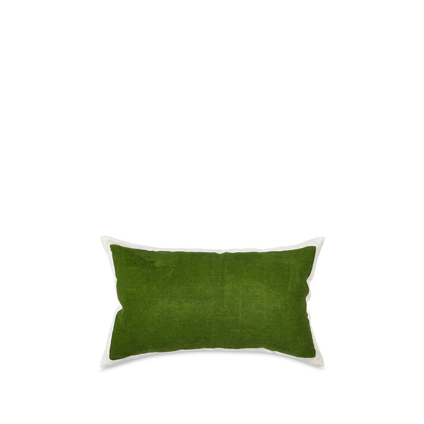 Hand Painted Linen Cushion Cover in Avocado Green, 50cm x 30cm