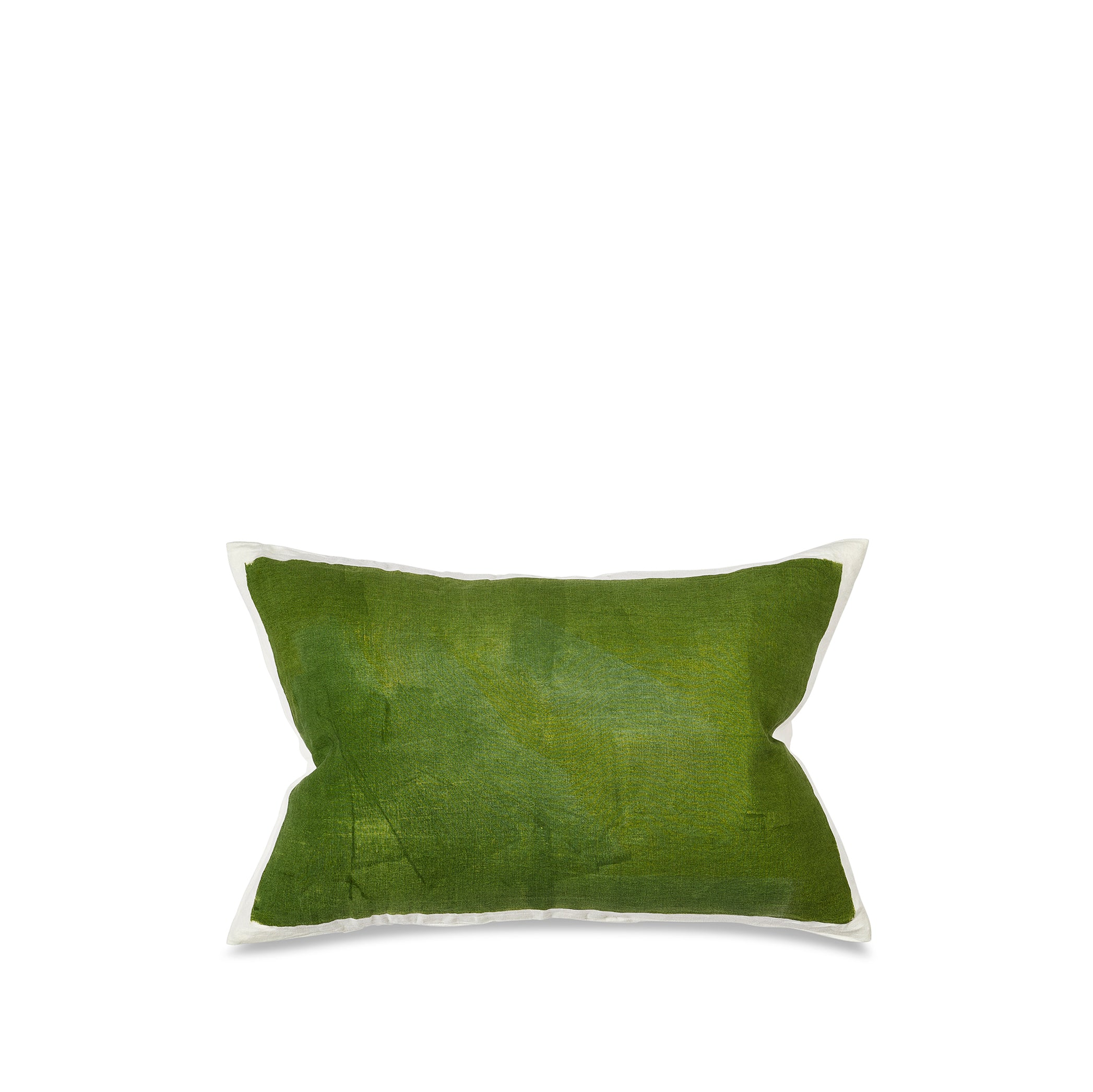 Hand Painted Linen Cushion in Avocado Green, 60cm x 40cm