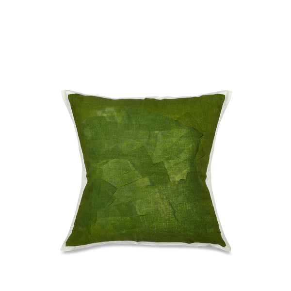 Hand Painted Linen Cushion Cover in Avocado Green, 60cm x 60cm