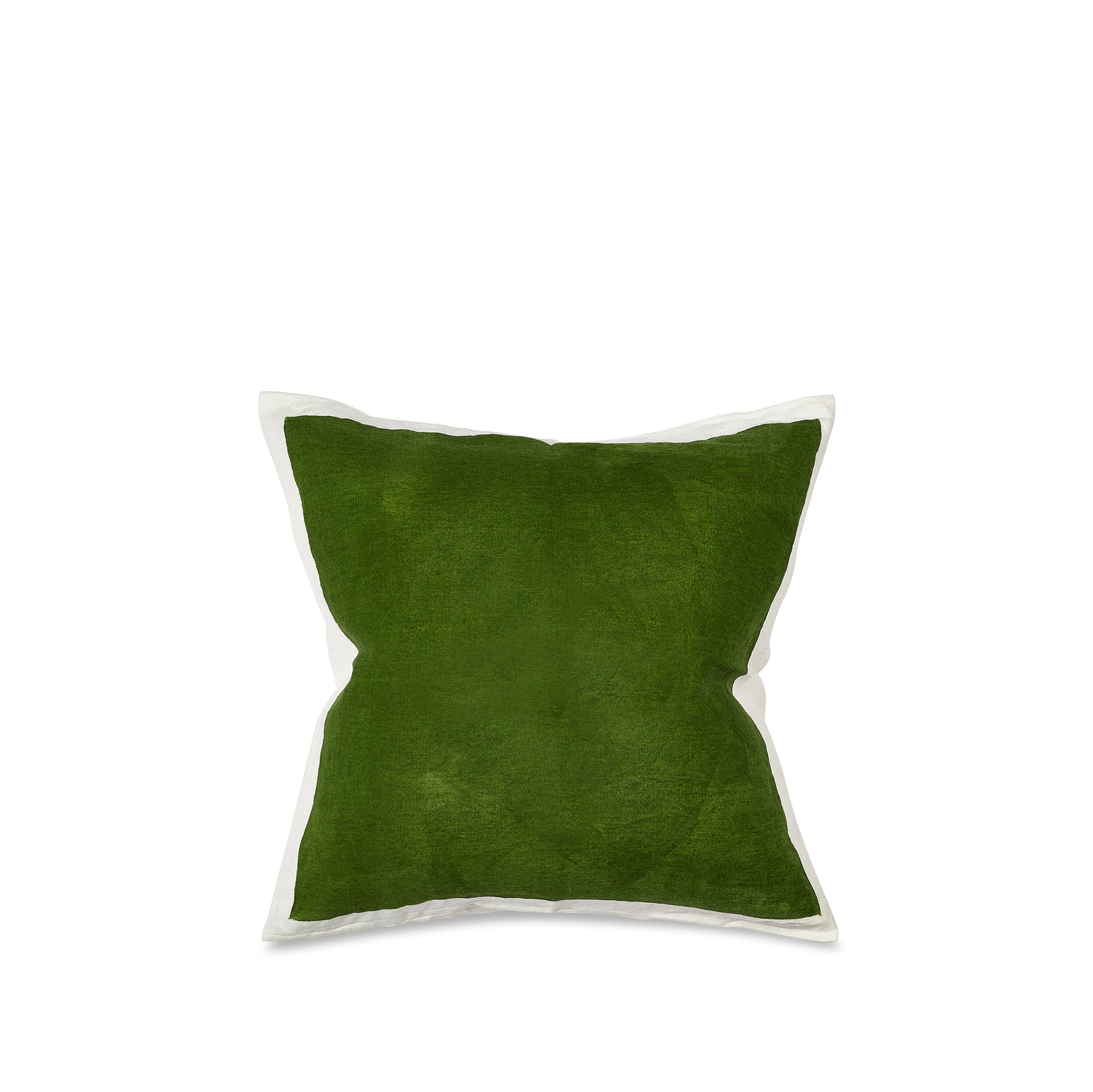 Hand Painted Linen Cushion in Avocado Green, 50cm x 50cm