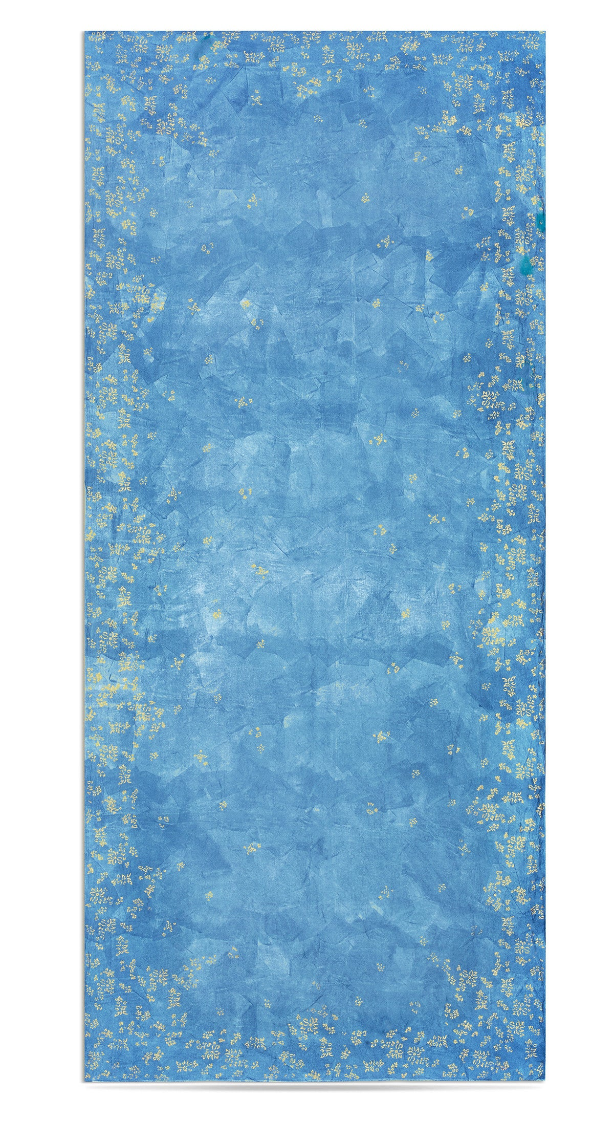 Bernadette's Hand Stamped Falling Flower On Full Field Linen Tablecloth in Sky Blue & Gold