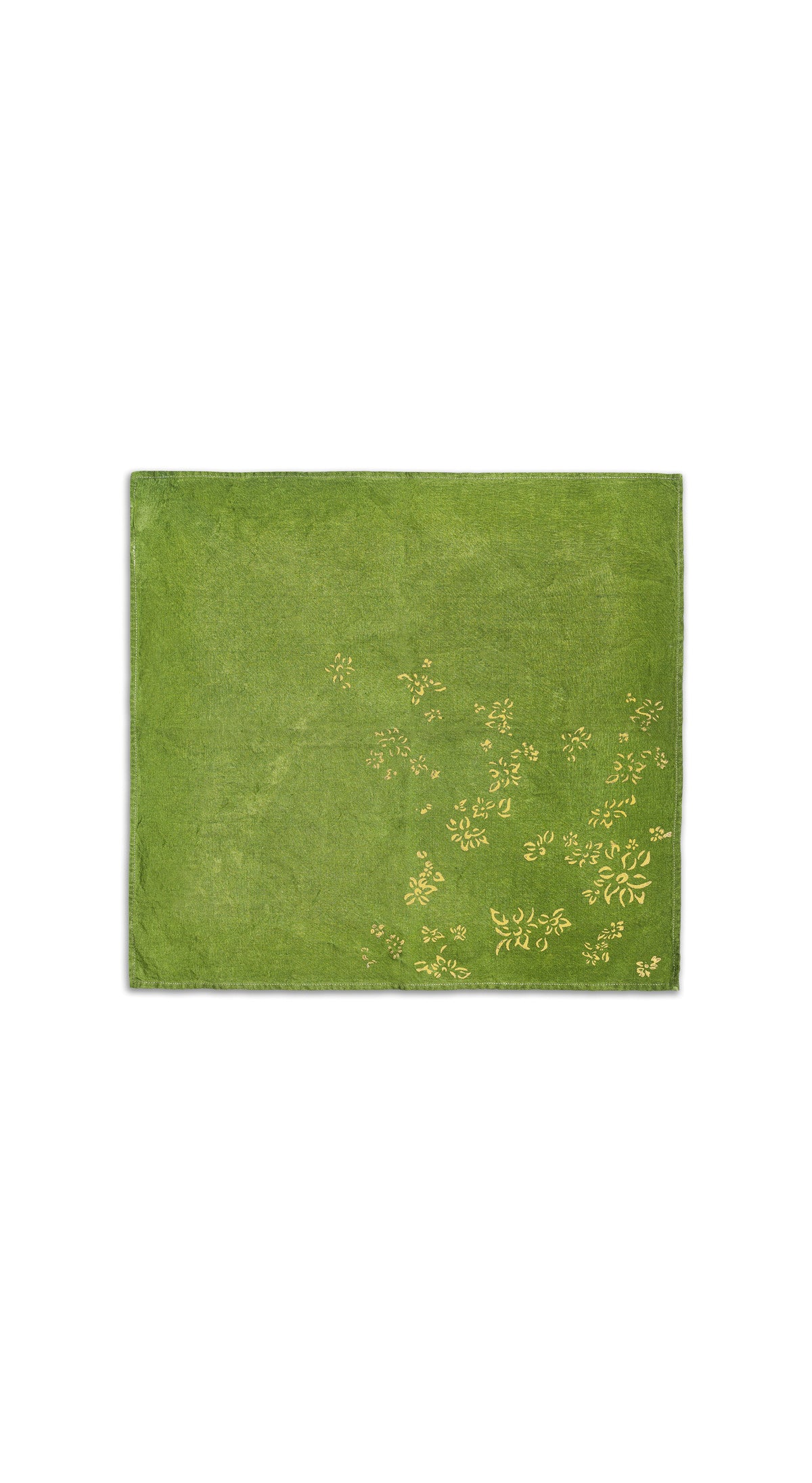 Bernadette's Hand Stamped Falling Flower On Full Field Linen Napkin in Avocado Green & Gold