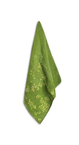Bernadette's Falling Flower On Full Field Linen Napkin in Avocado Green & Gold