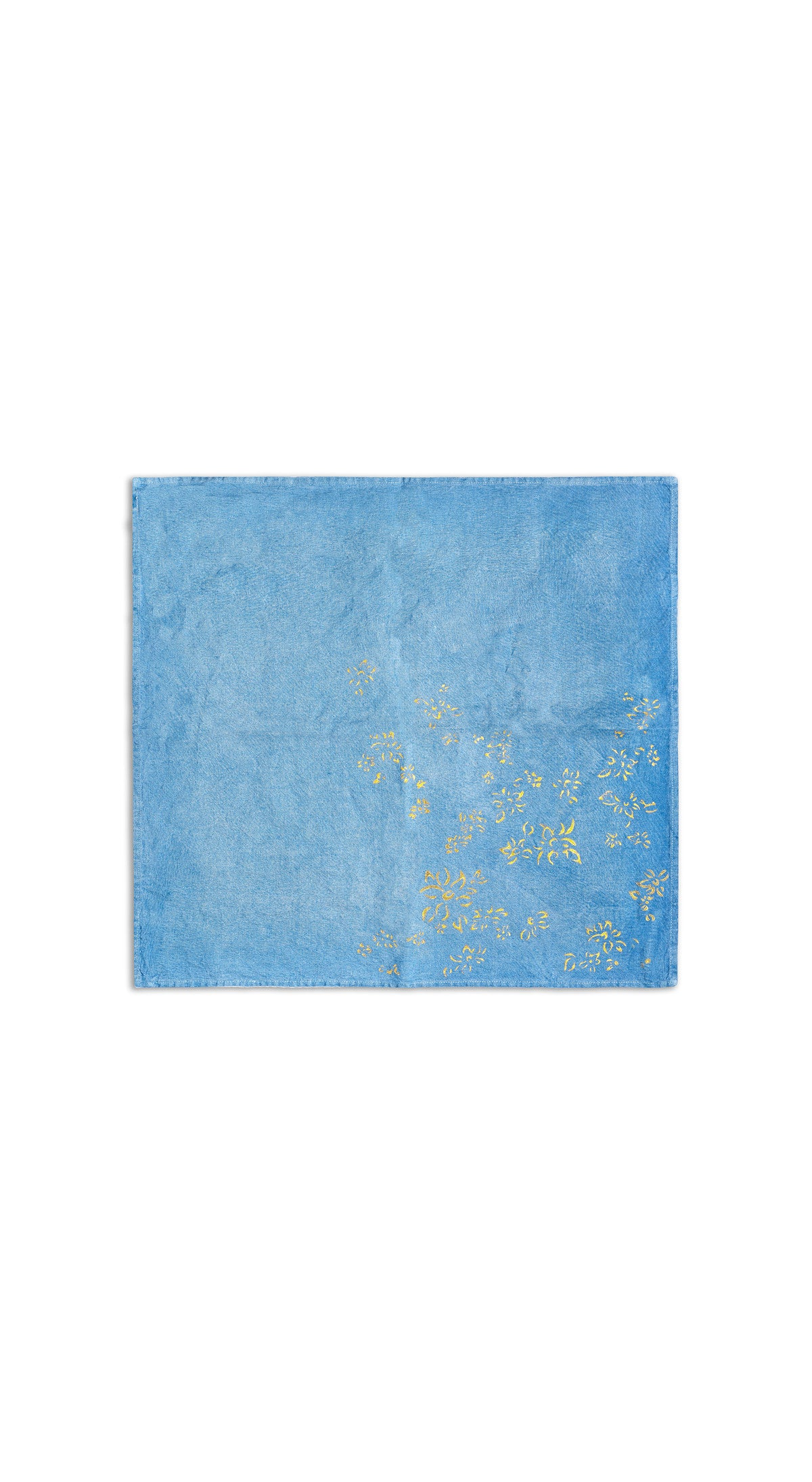 Bernadette's Hand Stamped Falling Flower On Full Field Linen Napkin in Sky Blue & Gold