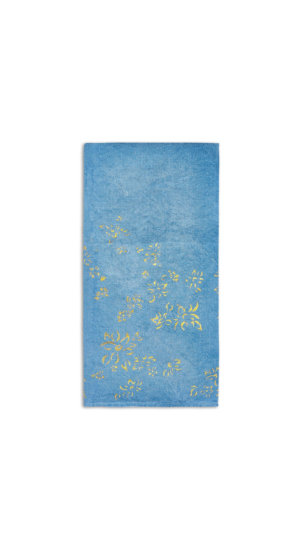 Bernadette's Falling Flower On Full Field Linen Napkin in Sky Blue & Gold