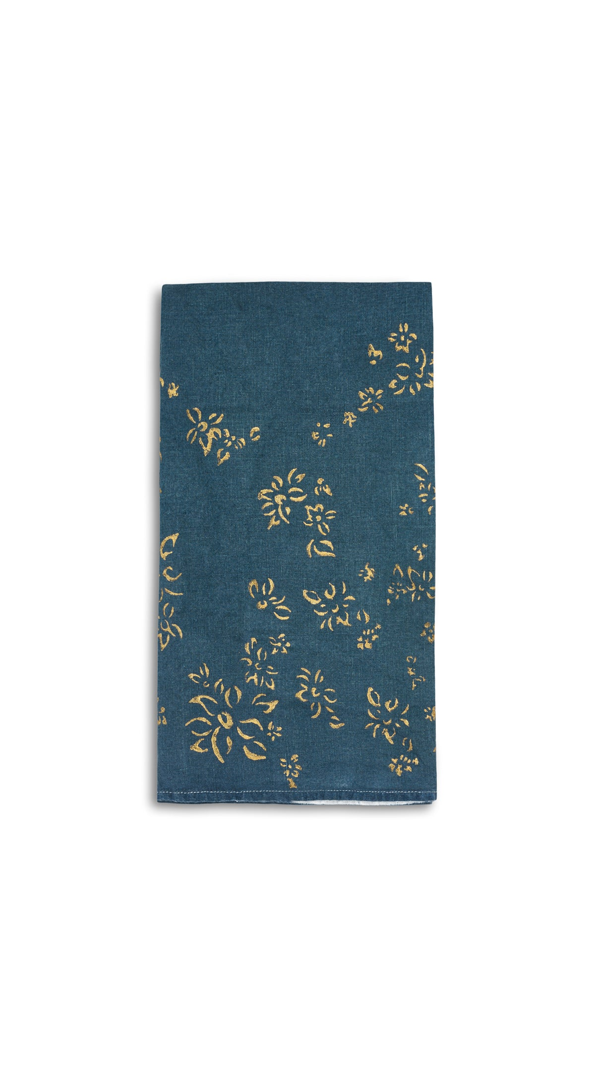 Bernadette's Hand Stamped Falling Flower On Full Field Linen Napkin in Deep Blue & Gold