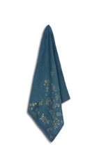 Bernadette's Falling Flower On Full Field Linen Napkin in Deep Blue & Gold
