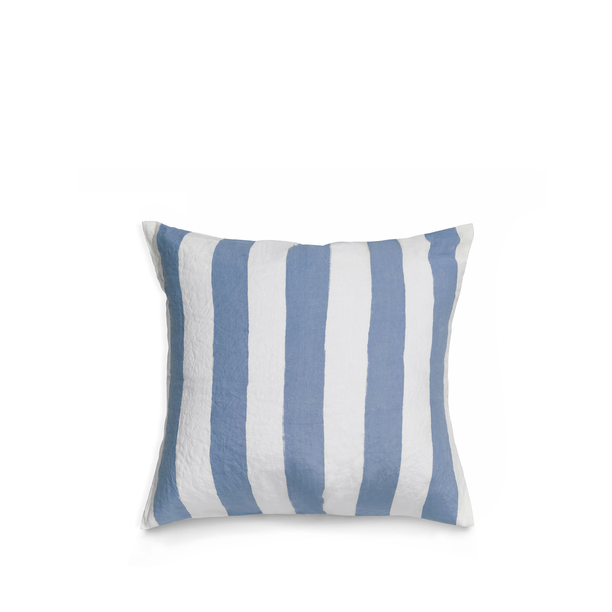 Hand Painted Stripe Linen Cushion in Pale Blue + White, 50cm x 50cm