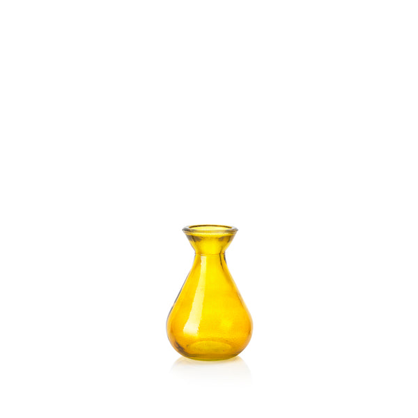 Recycled Glass Bud Vase in Mustard Yellow