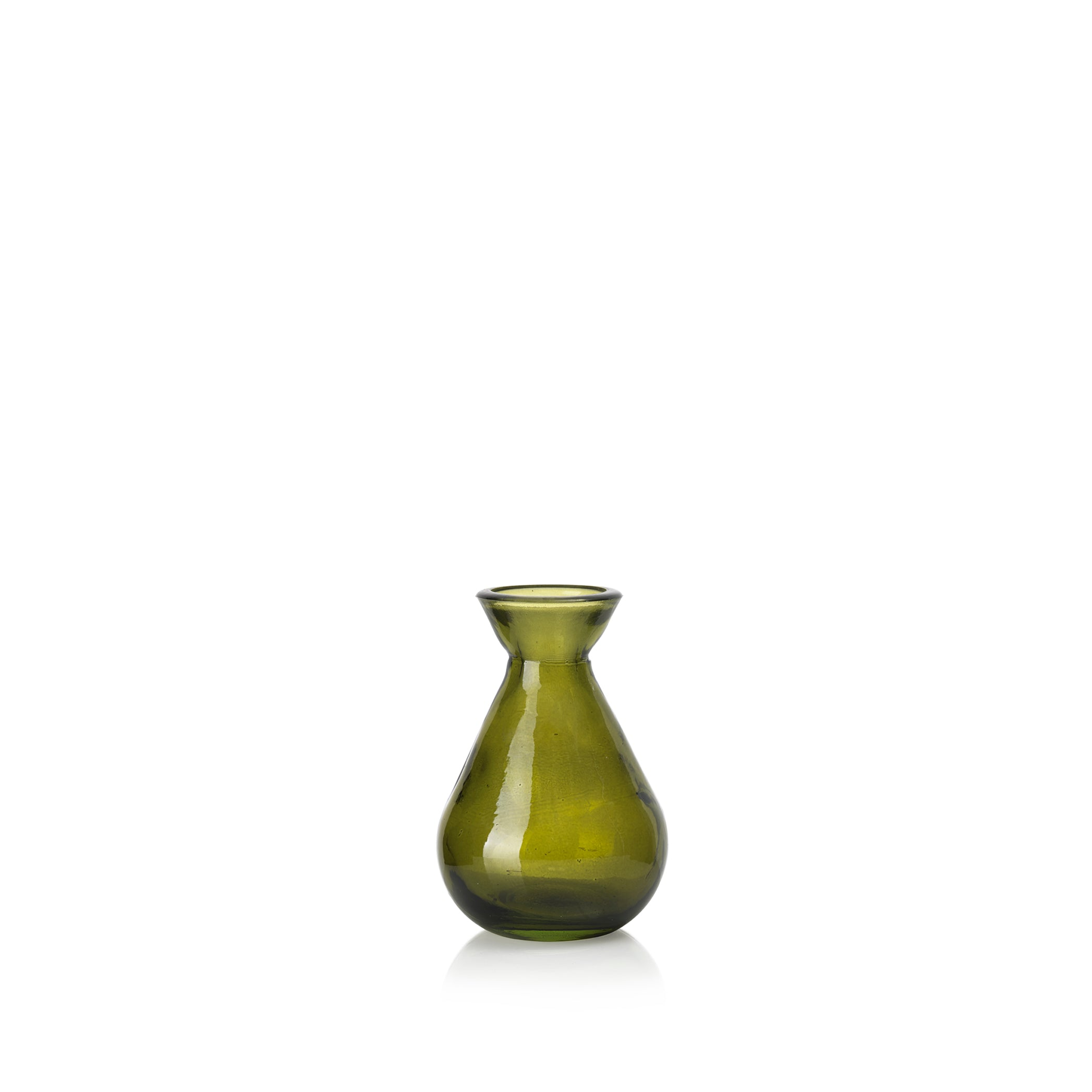 Recycled Glass Bud Vase in Avocado Green
