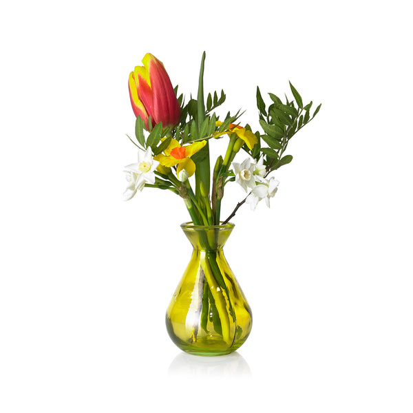 Recycled Glass Bud Vase in Pale Yellow