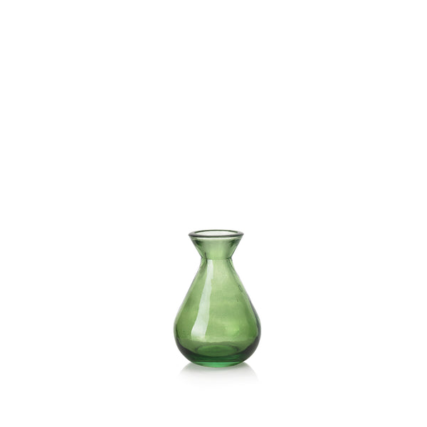 Recycled Glass Bud Vase in Dark Green