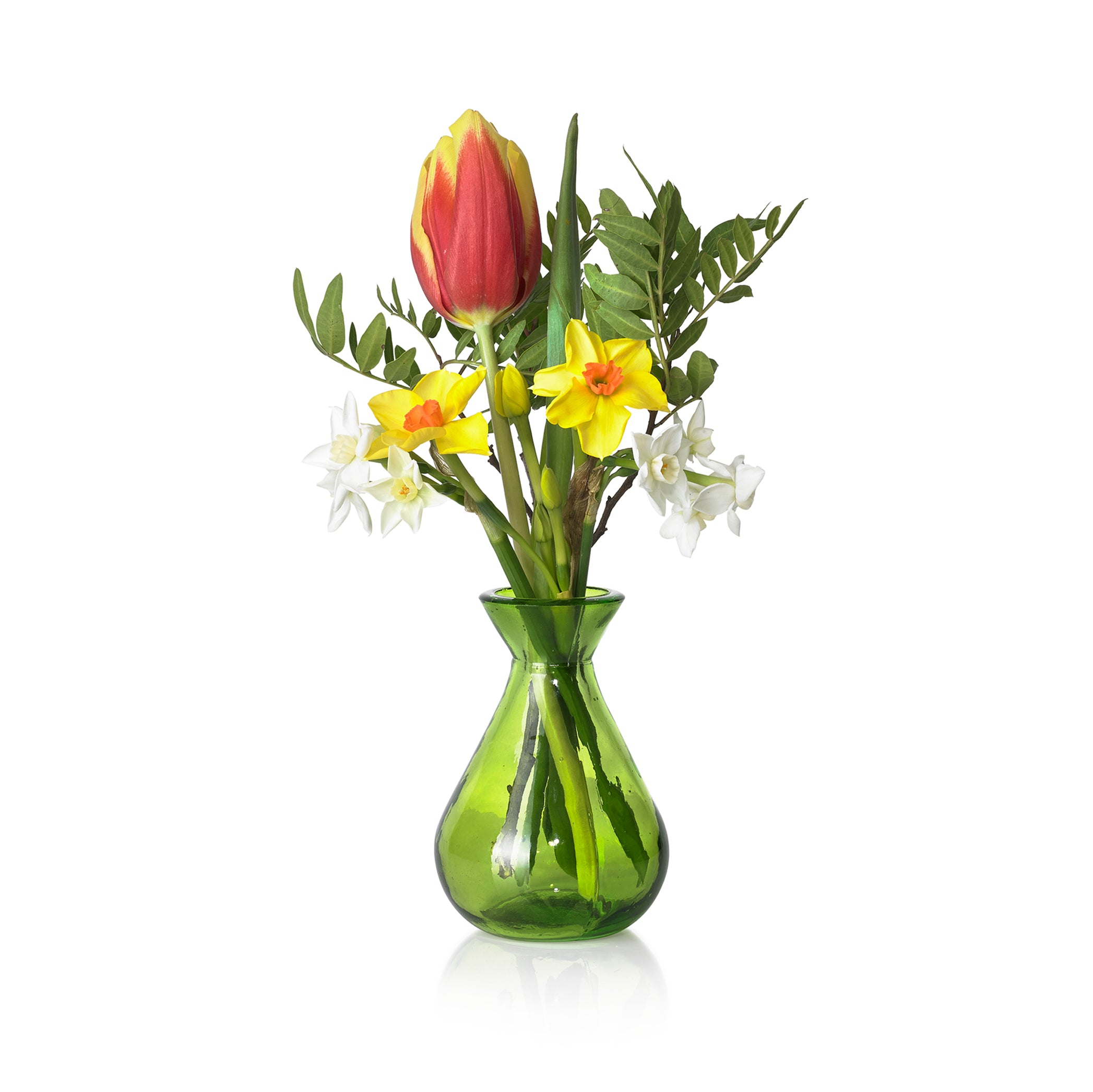 Recycled Glass Bud Vase in Lime Green