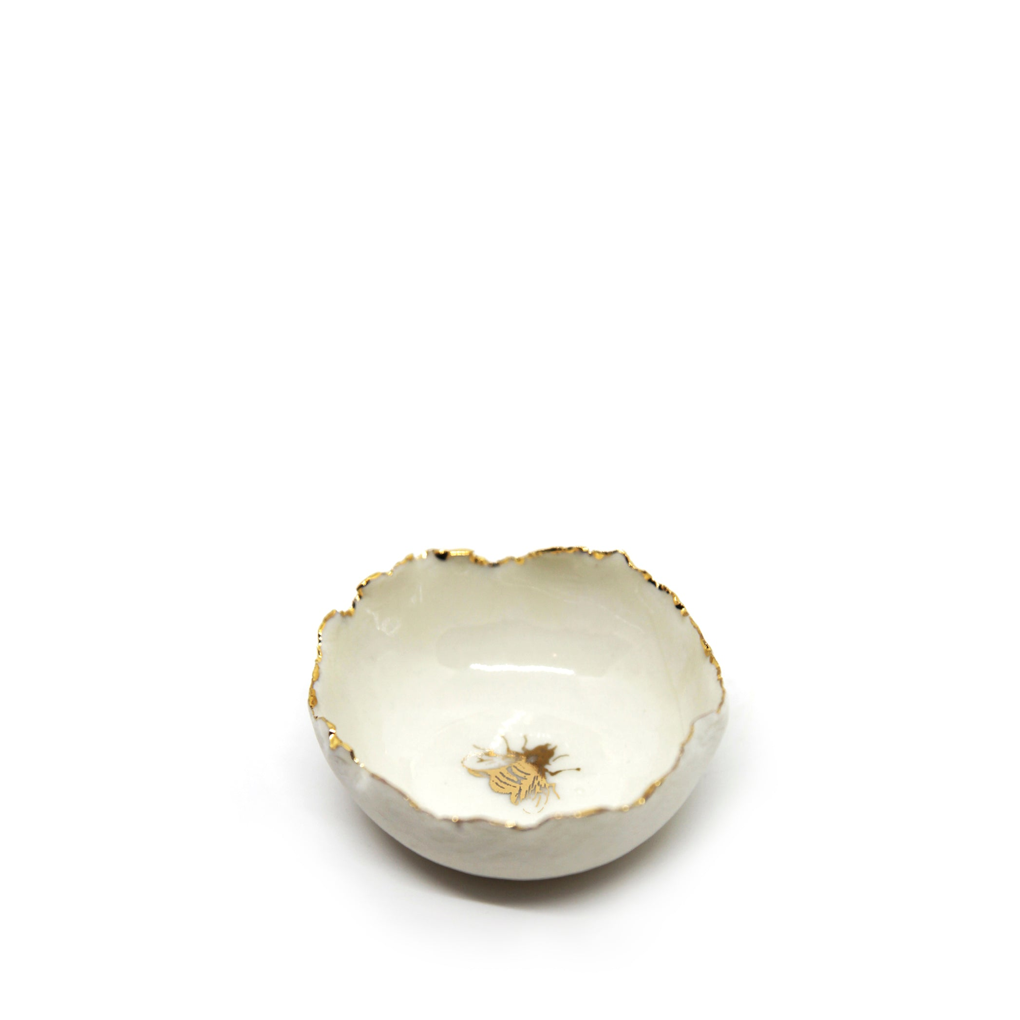 HB Jagged Bowl with Gold Bee, 7cm