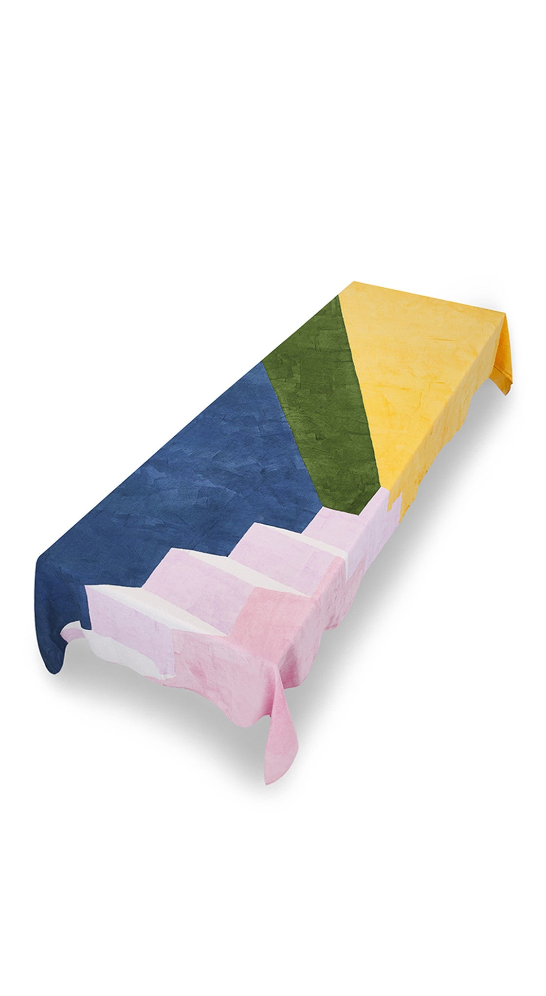 """Rays"" Block Colour Linen Tablecloth in Multicolours"