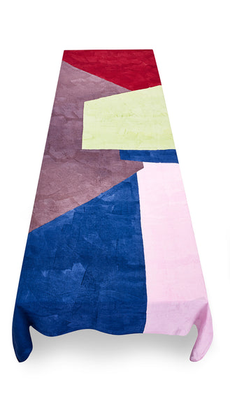 """Trapeze"" Block Colour Linen Tablecloth in Multicolours"