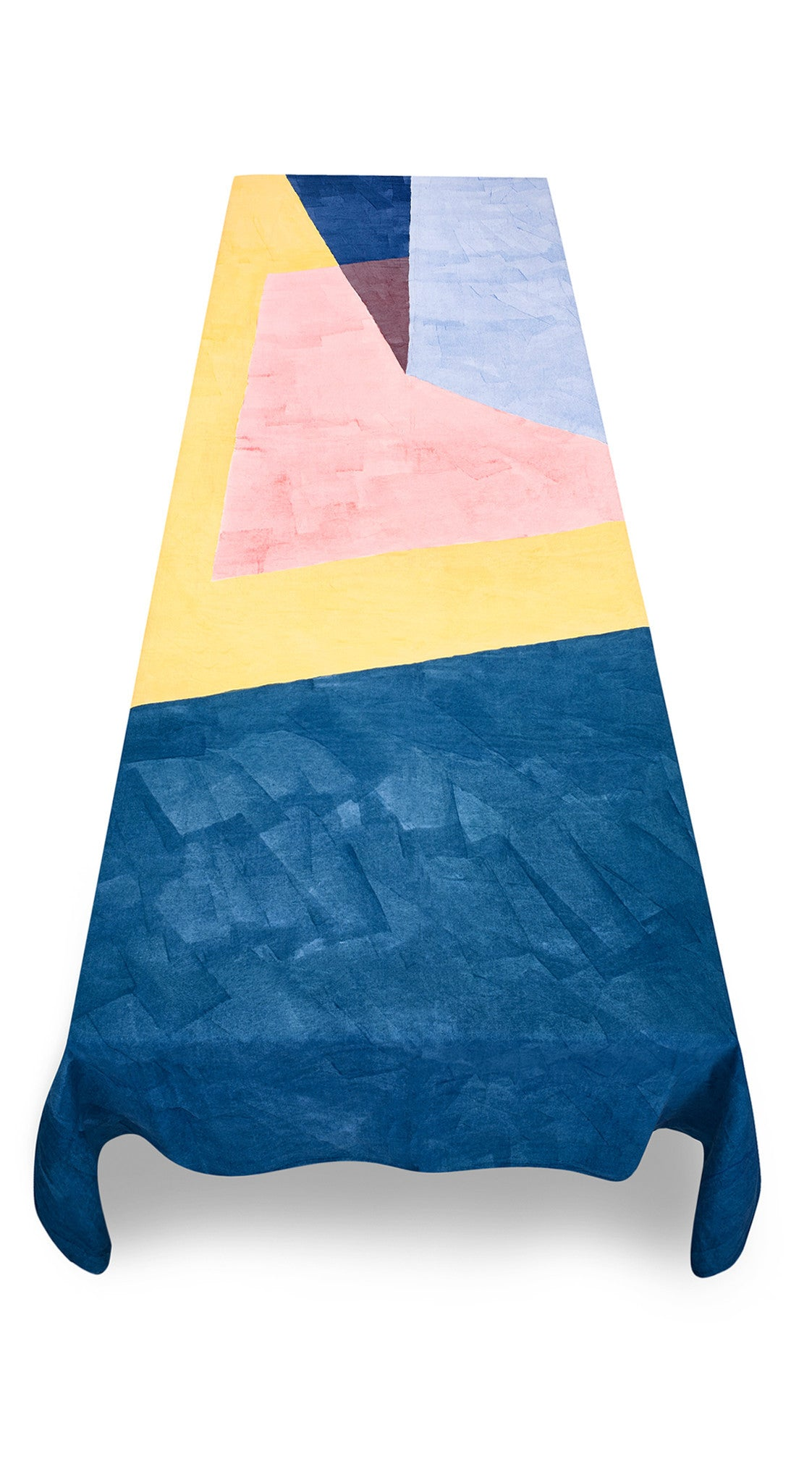 """Sails"" Block Colour Linen Tablecloth in Multicolours"
