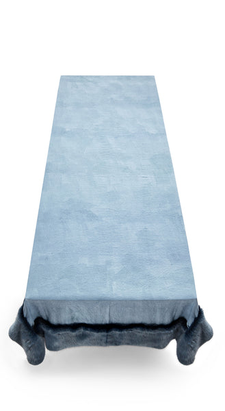 S&B x Shrimps Hand Painted Linen and Faux Fur Tablecloth in Powder Blue