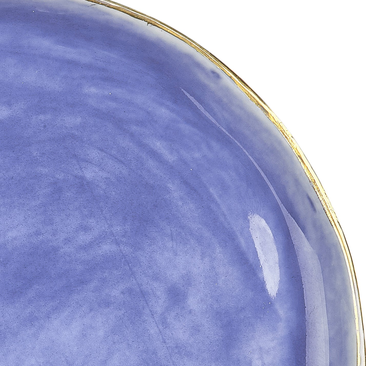Small Blue Ceramic Plate with Gold Rim, 12cm