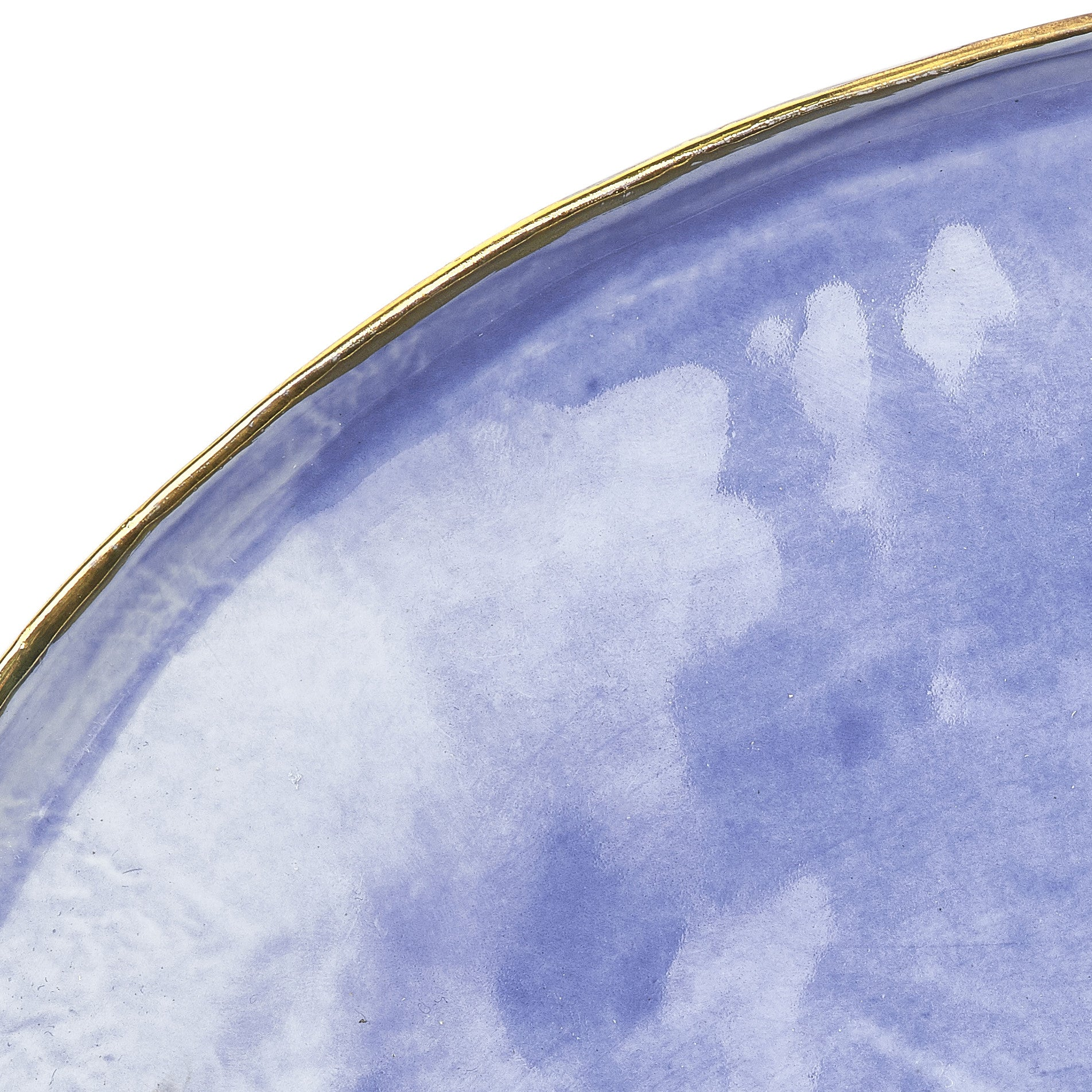 Medium Blue Ceramic Plate with Gold Rim, 28cm