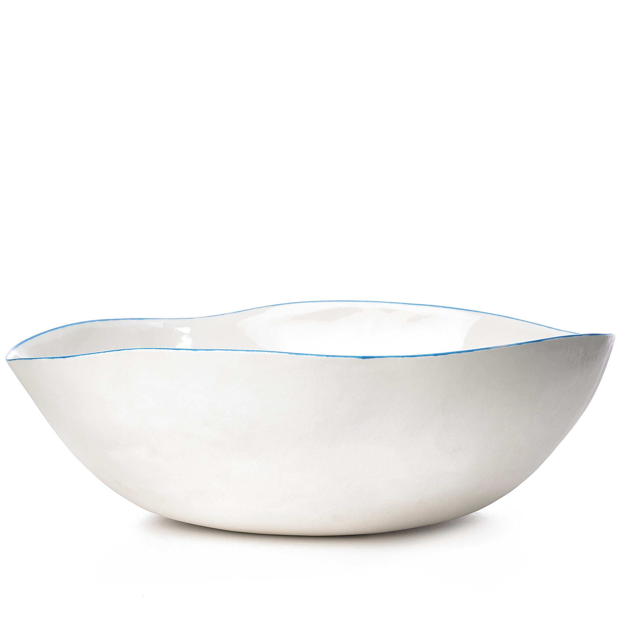S&B Handmade 43cm Porcelain Extra Large Salad Bowl with Blue Rim