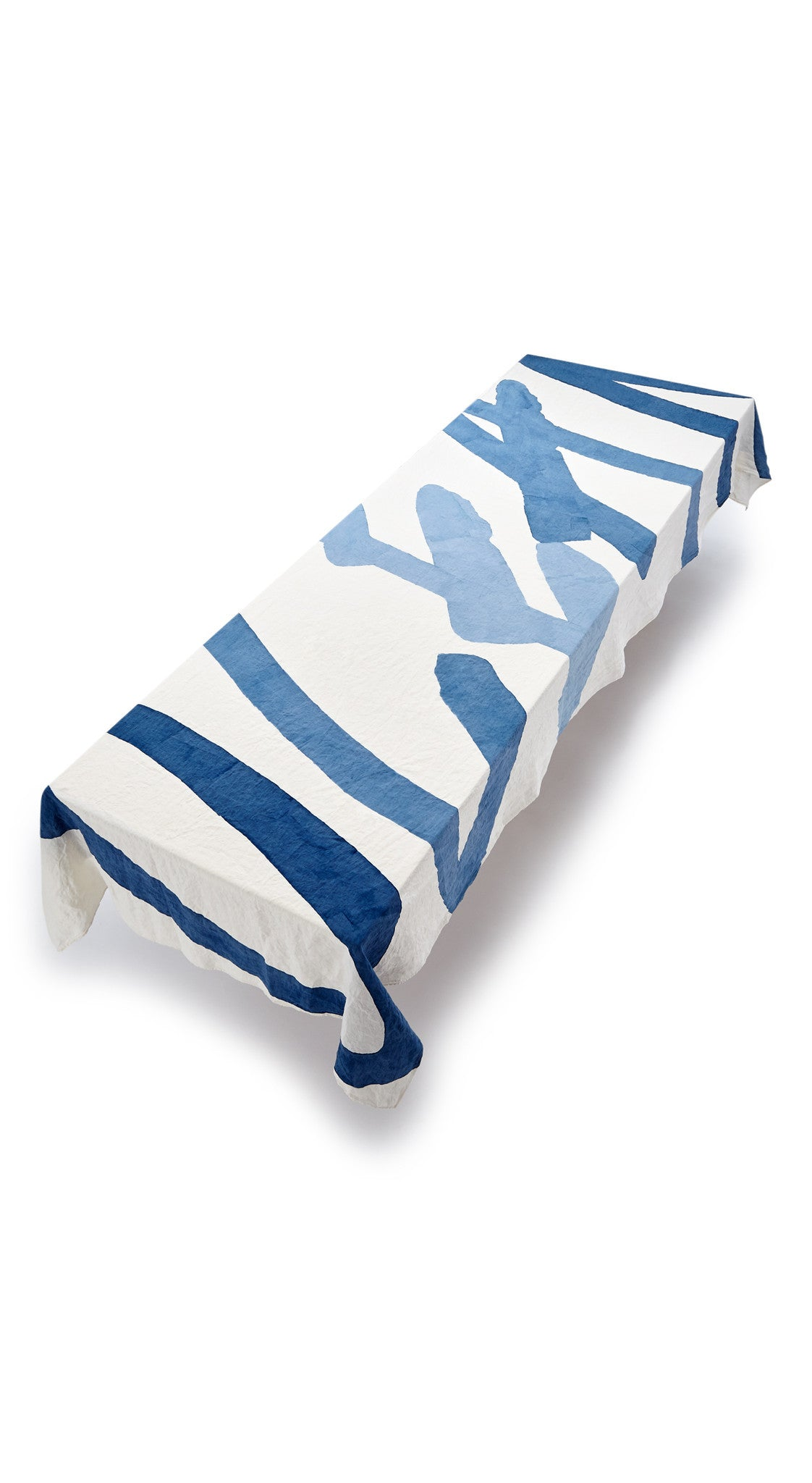 Ocean Word Linen Tablecloth in Waves of Blue