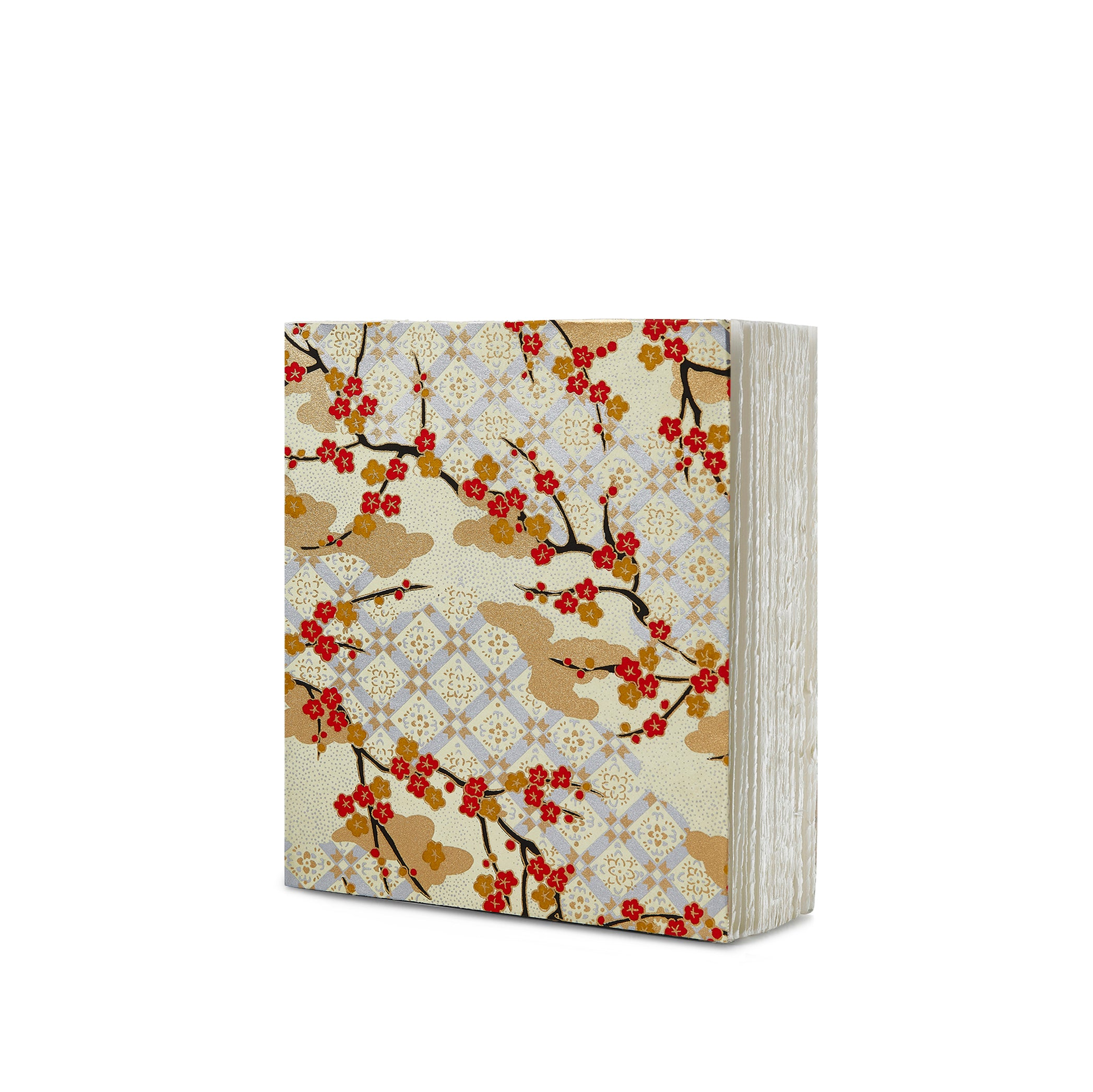 Handprinted Japanese Chiyogami Covered Sketchbook, Flowering Branches on Gold Background