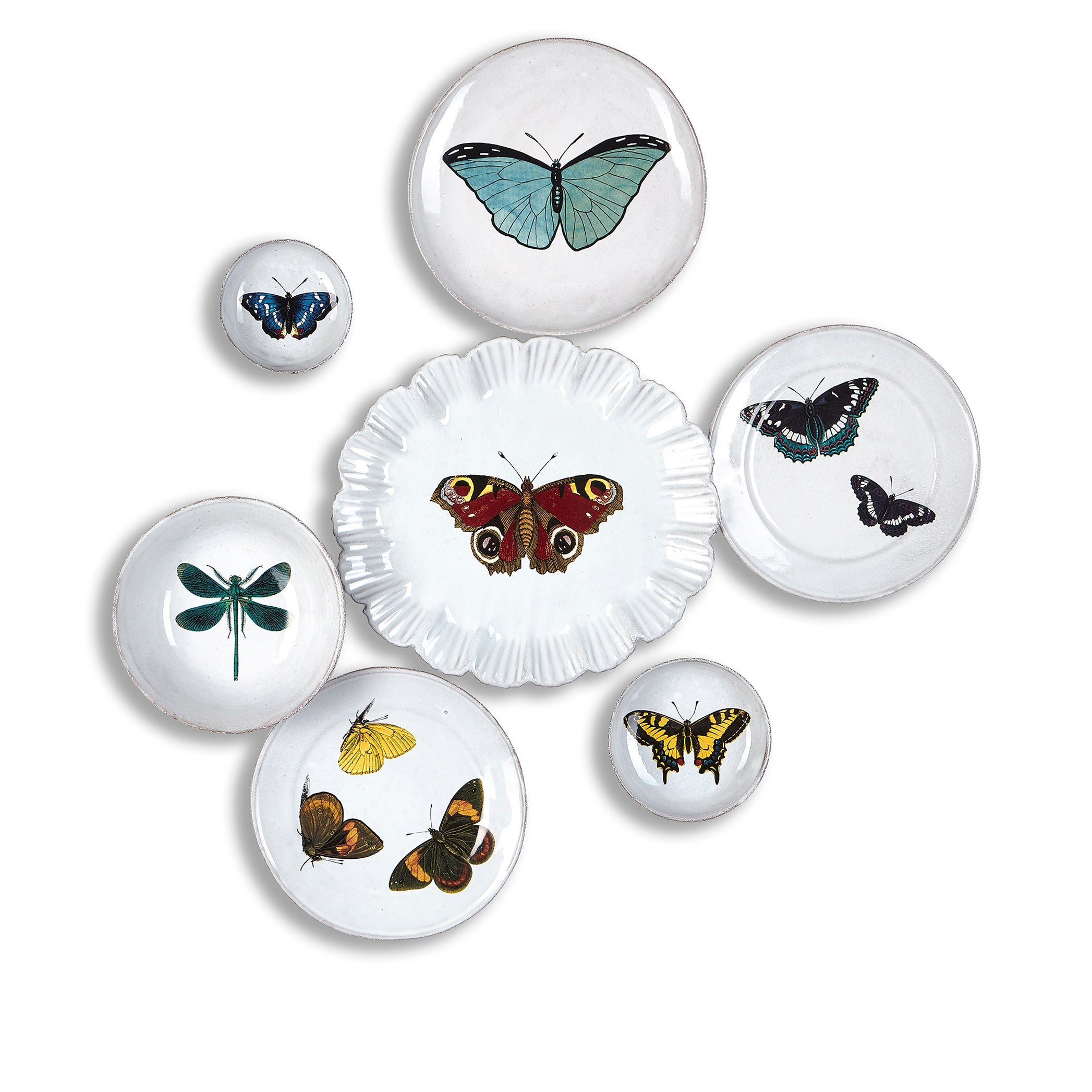 Two Flying Butterflies Plate by Astier de Villatte