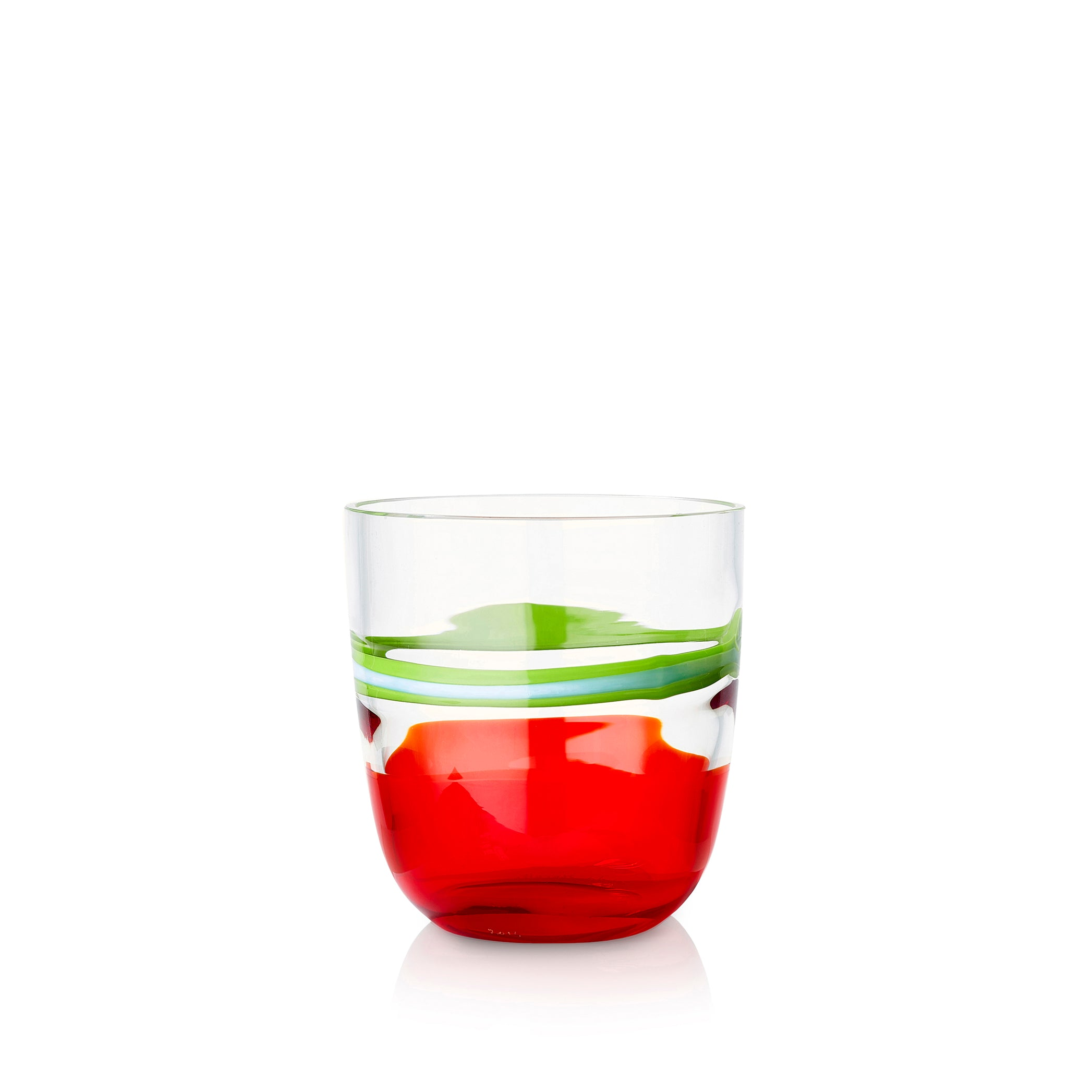 Set of Eight Handblown Colour Block Glass Tumblers in Avocado Green & Red