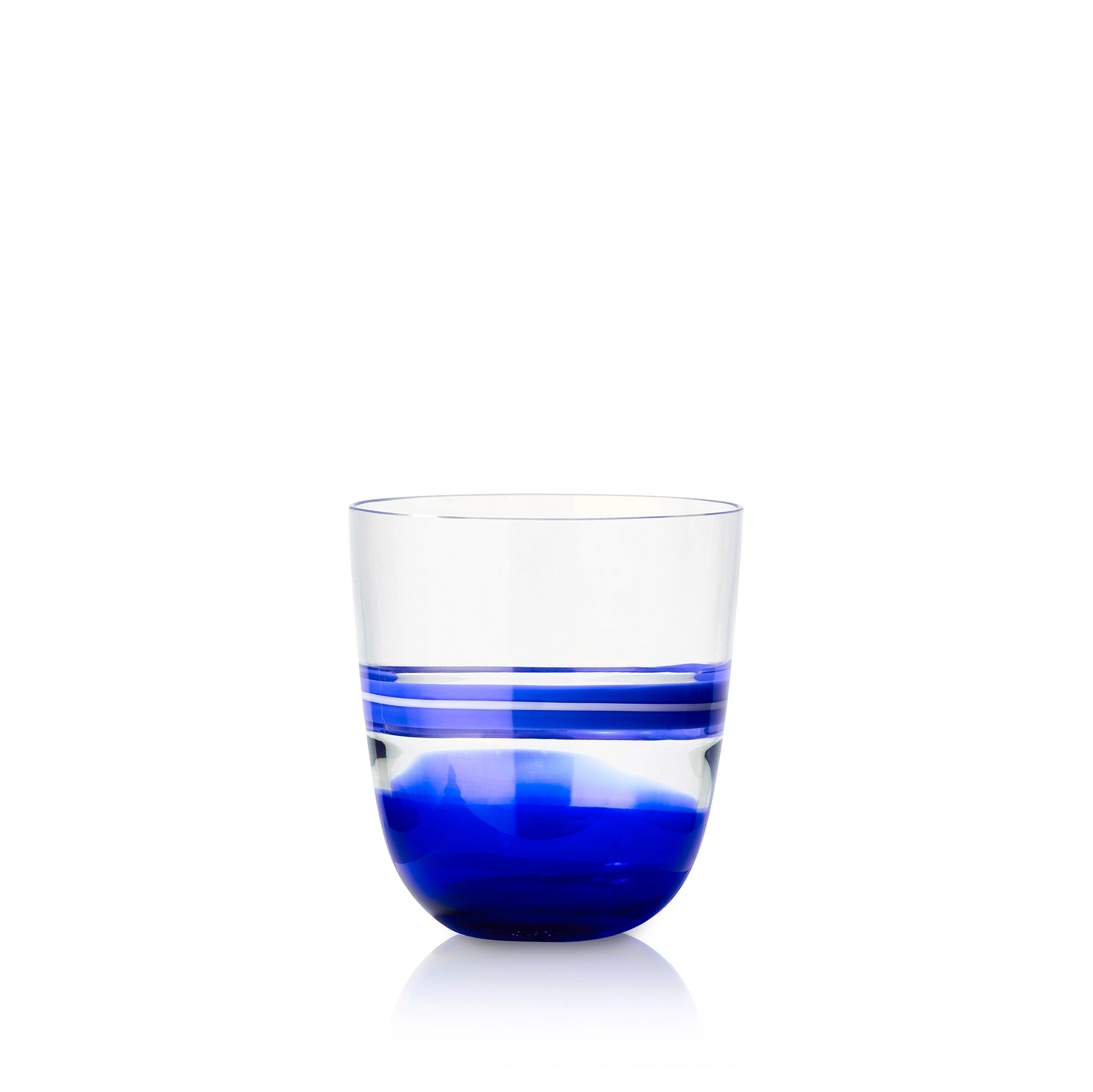 Set of Eight Handblown Colour Block Glass Tumblers in Midnight Blue