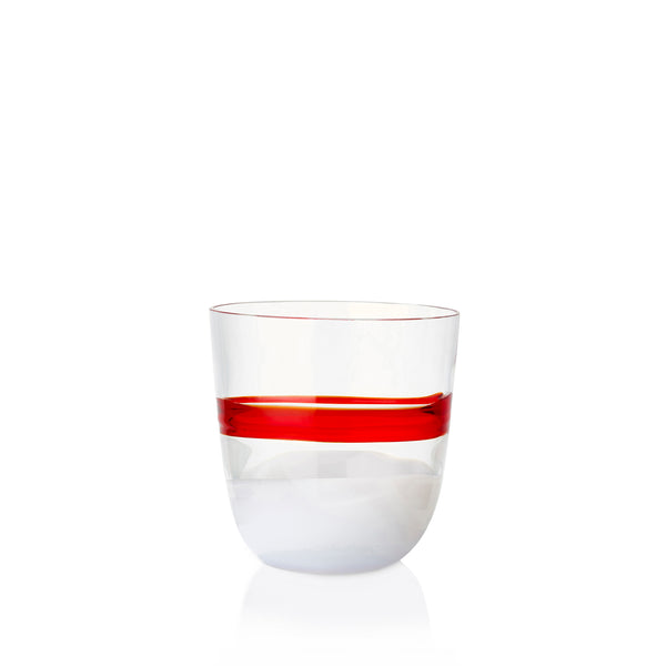Set of Eight Handblown Colour Block Glass Tumblers in Red & White