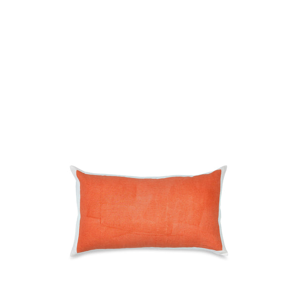 Hand Painted Linen Cushion Cover in Coral, 50cm x 30cm
