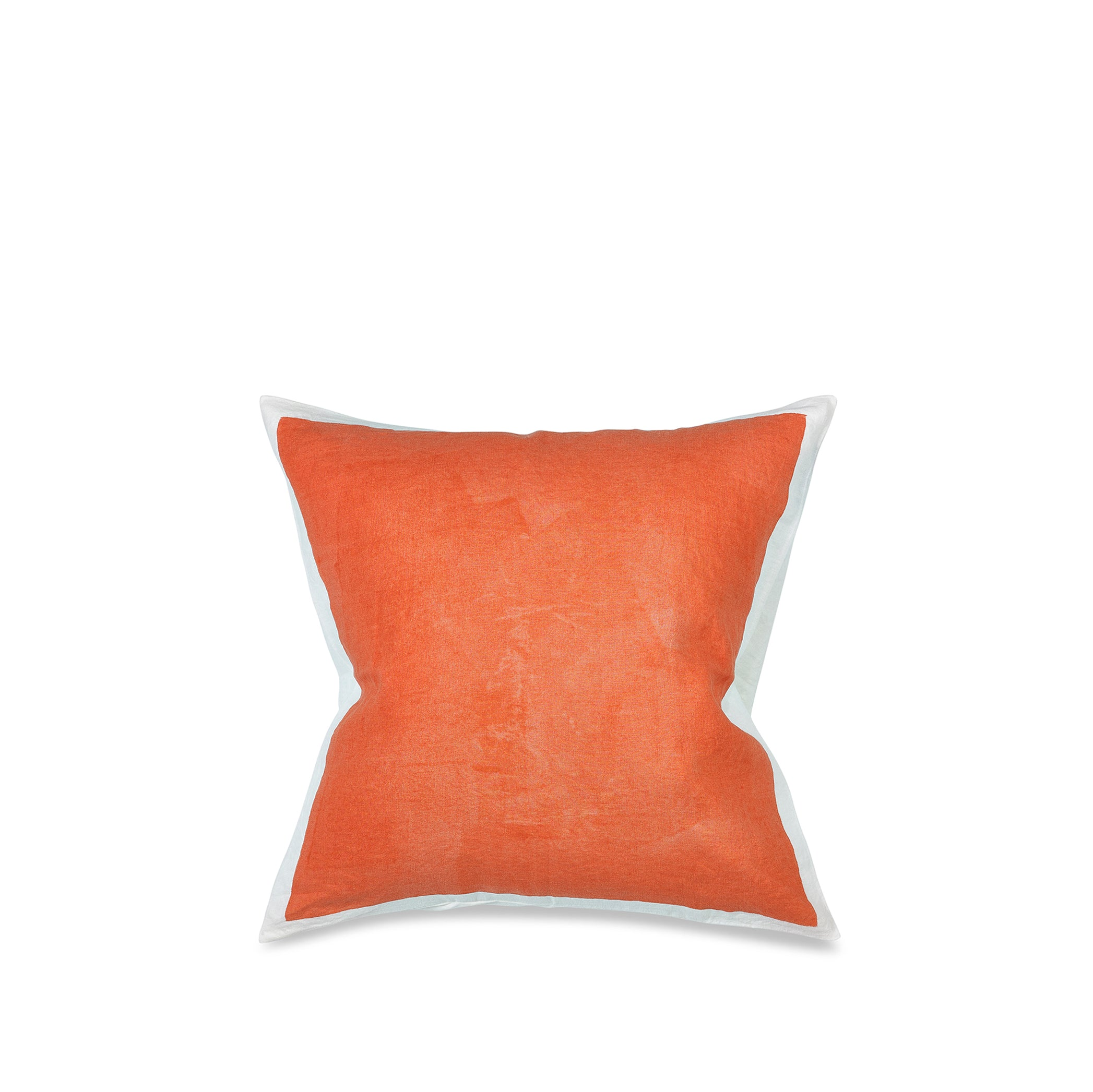 Hand Painted Linen Cushion Cover in Coral, 50cm x 50cm