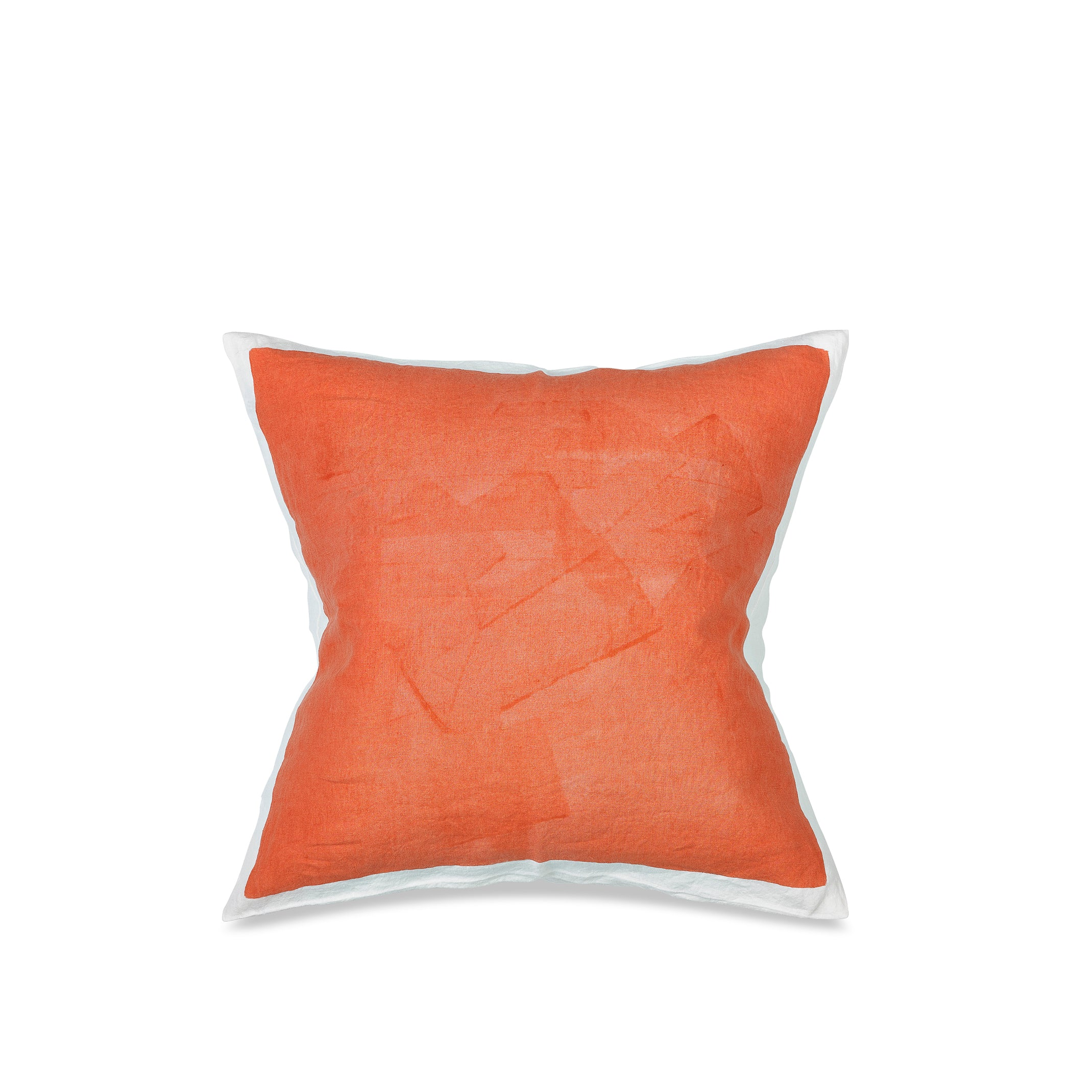 Hand Painted Linen Cushion in Coral, 60cm x 60cm