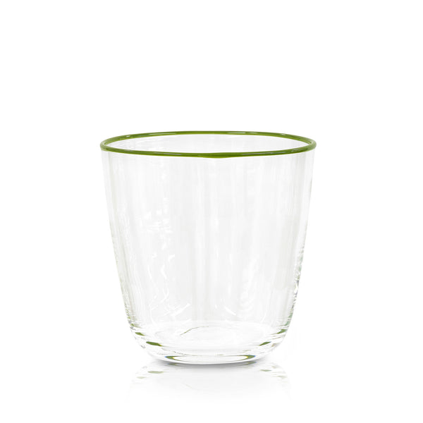 Handblown Clear Bumba Glass with Apple Green Rim