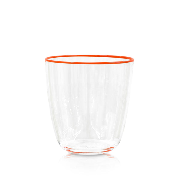Handblown Clear Bumba Glass with Orange Rim