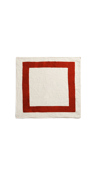 Cornice Linen Napkin in Rust Red