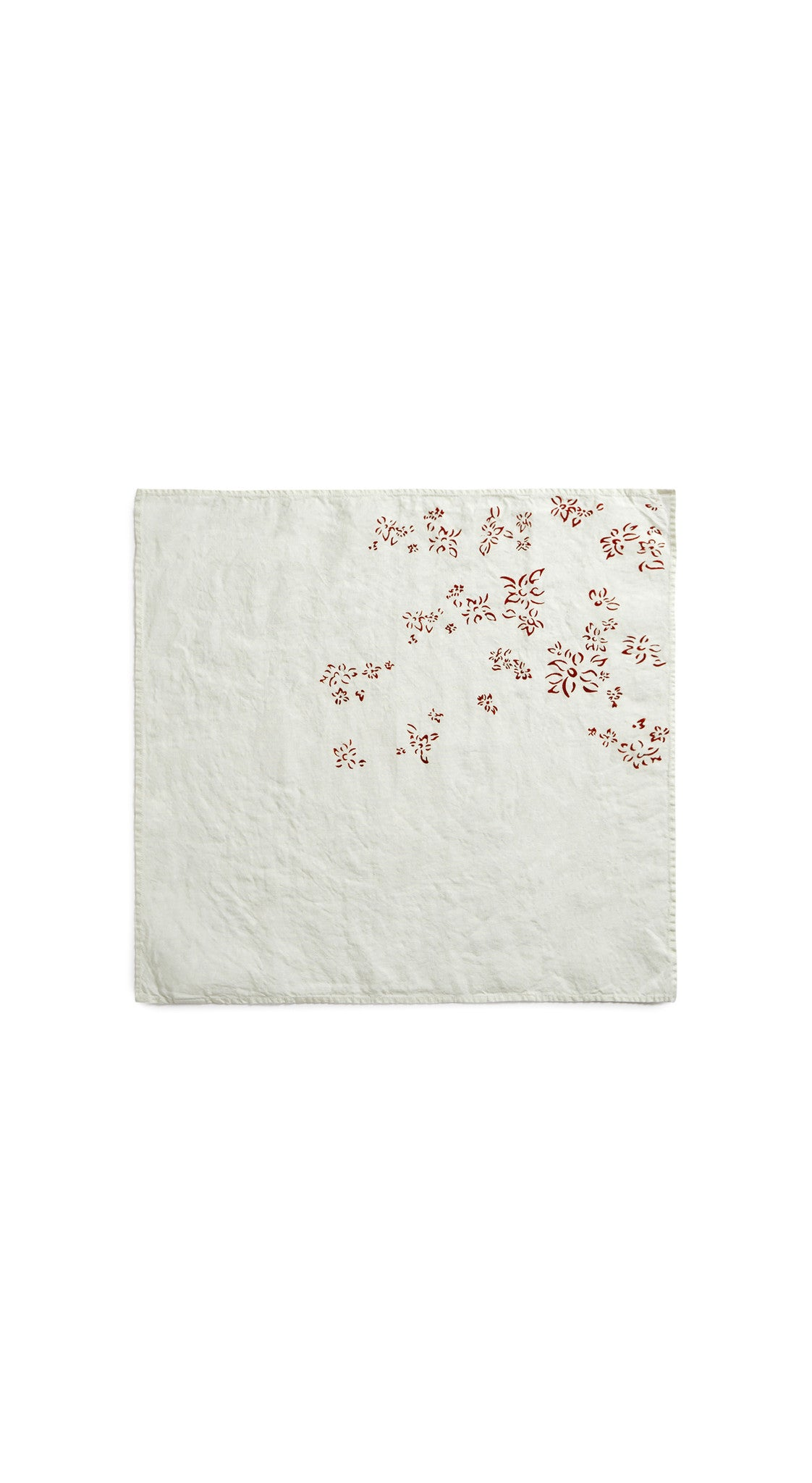 Bernadette's Hand Stamped Falling Flower Linen Napkin in Rust Red