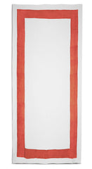 Cornice Linen Tablecloth in Coral Orange