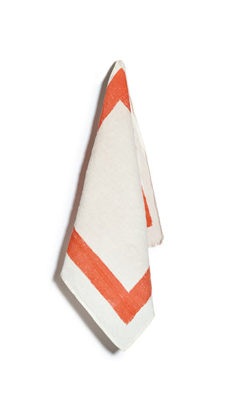 Cornice Linen Napkin in Coral Orange