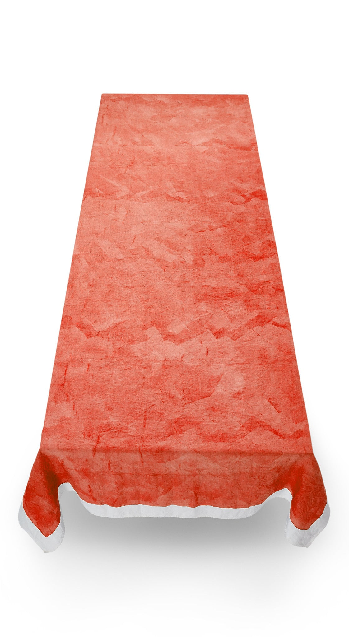 Full Field Linen Tablecloth in Coral Orange