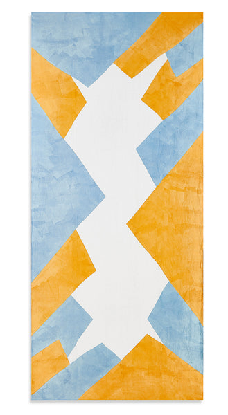 Cubism Linen Tablecloth in Blue and Yellow
