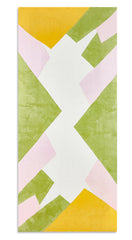 Cubism Linen Tablecloth in Pink, Green and Yellow