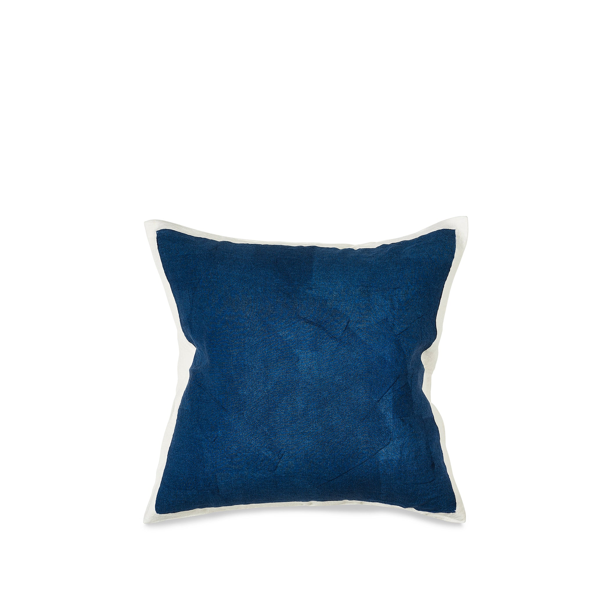 Hand Painted Linen Cushion in Midnight Blue, 50cm x 50cm