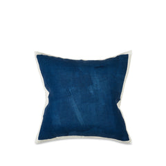 Hand Painted Linen Cushion Cover in Midnight Blue, 60cm x 60cm