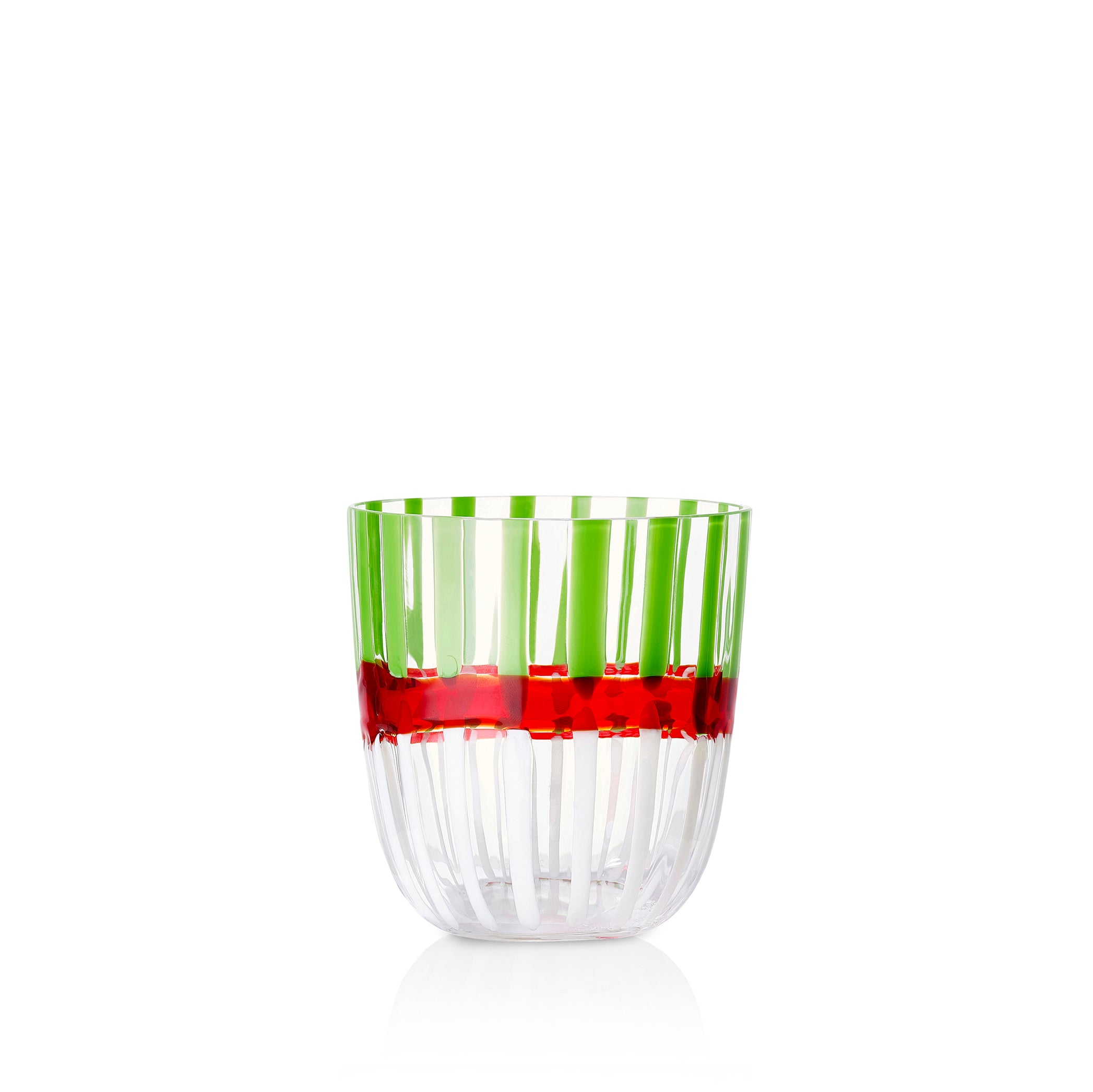 Set of Eight Handblown Double Stripe Glass Tumblers in Avocado Green, Red & White