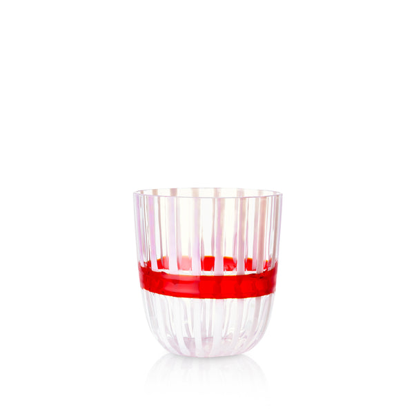 Set of Eight Handblown Double Stripe Glass Tumblers in Rose Pink, Red & White