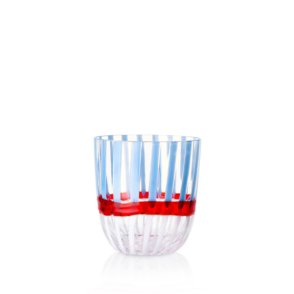 Set of Eight Handblown Double Stripe Glass Tumblers in Powder Blue, Red & White