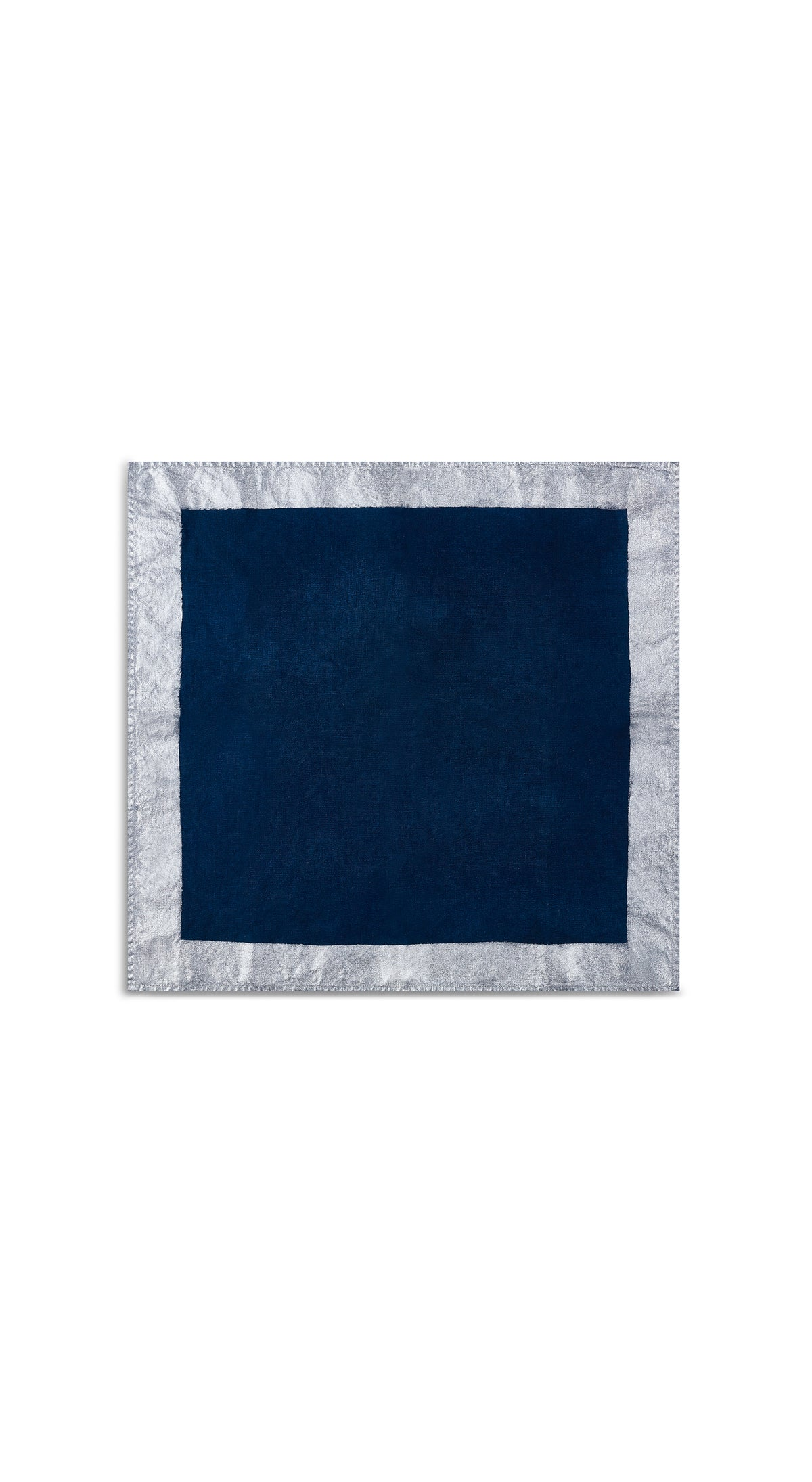Silver Edge Linen Napkin in Midnight Blue